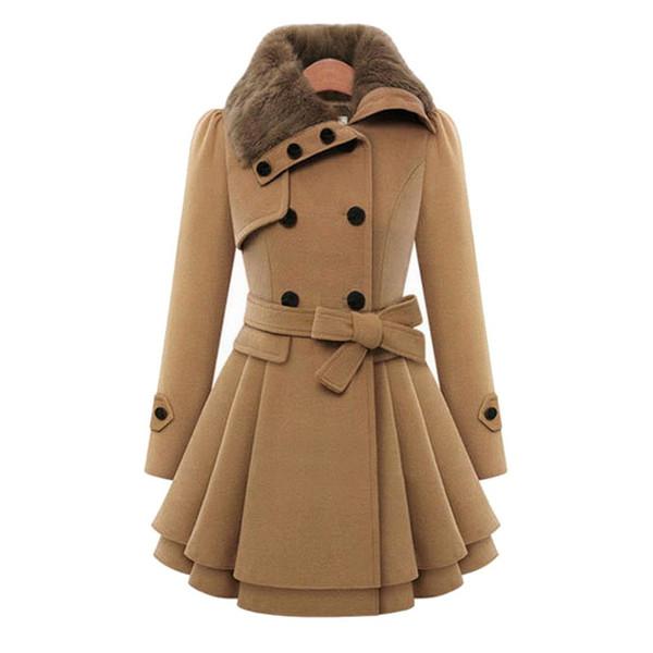 Frauen Trench Pelzkragen Herbst Winter Mode Vintage Zweireiher Rüschen A-Line Plus Größe 4XL Femme Warmen Mantel