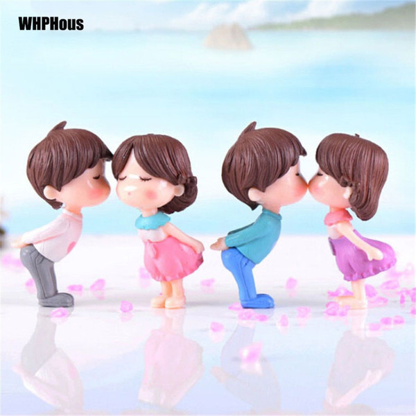 2pcs Popular Kissing Lover Figurines Wedding Doll Miniatures Couple models Fairy Garden home decor baby toy DIY accessories