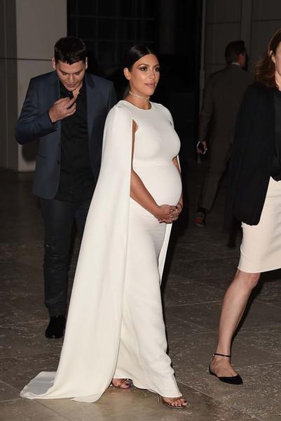 Kim Kardashian Maternity Evening Dresses With Caped Caftan Dubai Long Prom Dresses For Pregnant Women Red Carpet Celebrity Dress 2019 Cheap