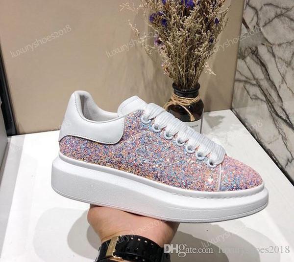 2019 Luxury Designer Hommes Femmes Chaussures Casual pas cher Meilleur Top qualité Chaussures Hommes Femmes Mode Party Chaussures Glitter Shinny Chaussures de sport Tennis