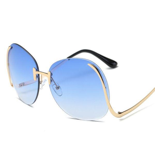 Rimless Oversized Curved Leg Sunglasses Women 2019 Brand Design Men Colorful Oceanic Mirror Oculos De Sol Feminino Sun Glasses