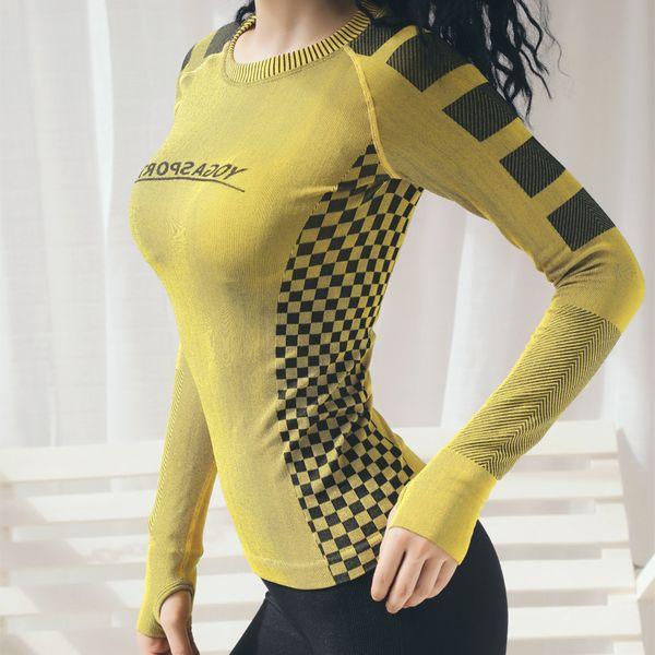 Femmes Gym Top Chemises Vêtements de Fitness À Manches Longues Yoga Crop Top Athletic Sportswear Femmes Sport Workout Shirt Running Pull