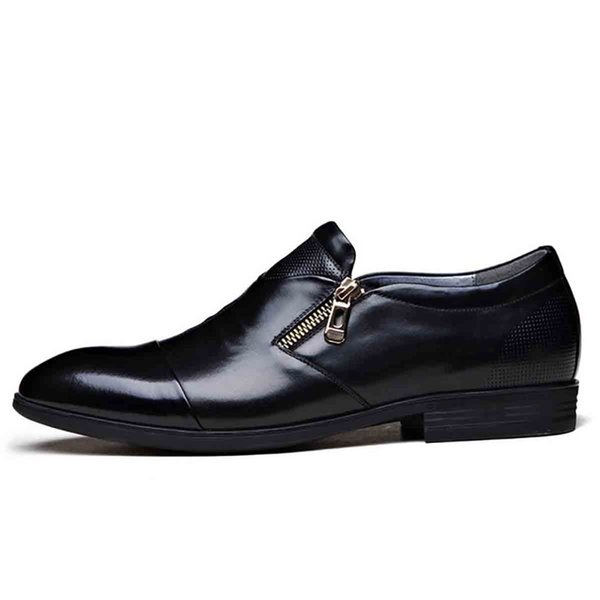 Small Zipper Solid Color Simple Black Orange 39-48 Yards Men's Shoes Men's Business Dress Shoes Zipper Fashion Set