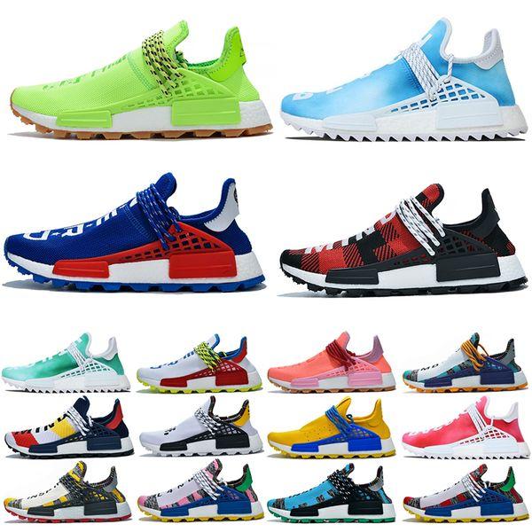 top popular NMD Human Race Mens Running Shoes BBC Black Solar Pack Pharrell Williams nmds Designer Sneakers Nerd Aqua Volt Women Sports Shoe Size 36-47 2019