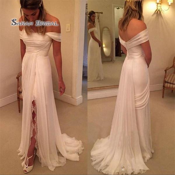 Vestido de novia de playa de gasa simple con abertura de encaje sin tirantes fuera del hombro Tren de barrido acanalada Imperio Más tamaño vestidos de boda baratos
