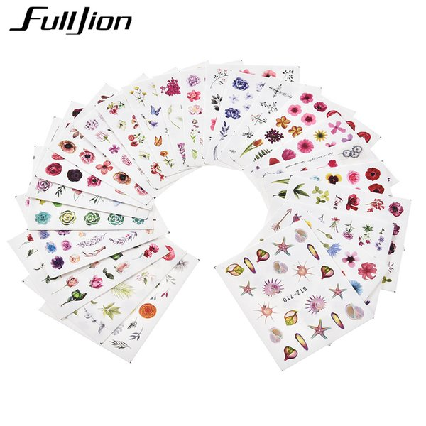 Fulljion Colorful Holographic Flowers Nail Foils Transfer Manicure Nail Art Template DIY Design 3D Sticker for Beauty Tools