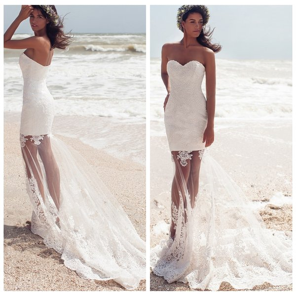 Sexy Sheer Skirt Mermaid Wedding Dresses Custom Made Sweetheart Bohemian Lace Bridal Gown Plus Size Bride Dress
