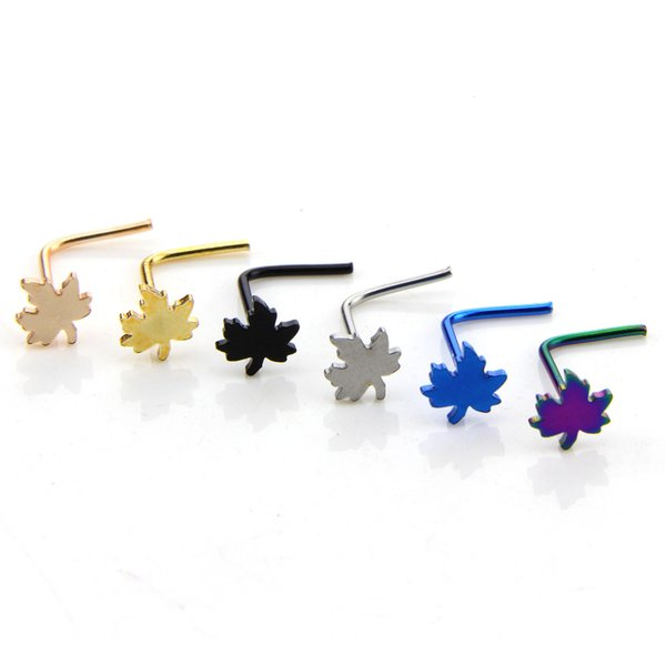 8 styles 316L Surgical Steel L Shaped Nose Stud Maple Spider skull Head Nose Ring Nose Piercing Free Shipping 6pcs Lot