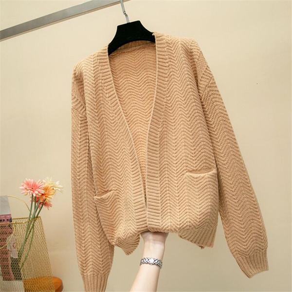 2019 para la niña informal suéter de punto de Otoño de Corea mujeres adelgazan color sólido diseño del bolsillo Cardigan Caqui Blanco Azul Marrón DT191023