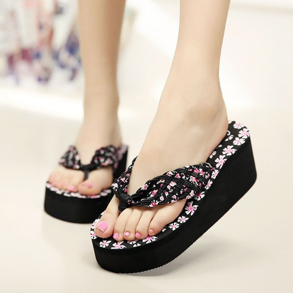 Perimedes Women Ladies Girls Wedges Floral Flip Flops Sandals Slippers Beach Shoes zapatos de mujer