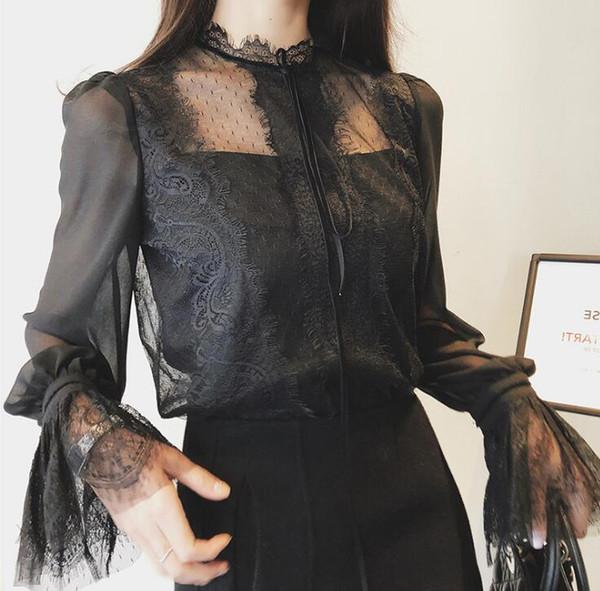 Новая коллекция весна осень женская элегантная кружевная рубашка с расклешенными рукавами, топы, блузки с верхом на солнце, леди, повседневные сладкие рубашки C4116