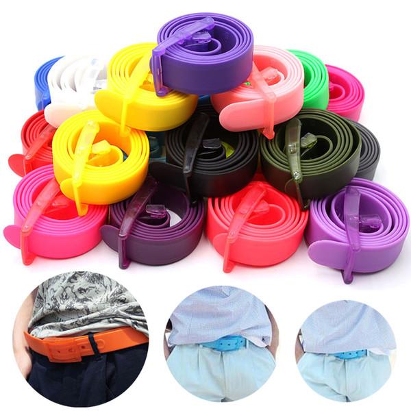 Cinghia degli uomini del silicone regolabile Unisex Donne colori della caramella Jelly Gomma Plastica Buckle Cinture studenti Jeans Pants cinghie Wristband