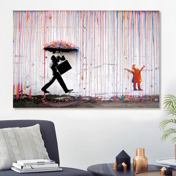 Бэнкси Красочный дождь Wall Art Холст Живопись Произведение искусства Плакаты и печать Стена Картины для декора Нет кадров