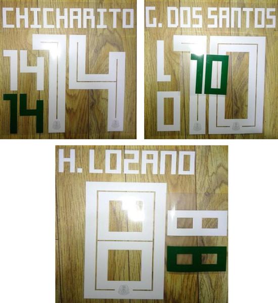 18 19 Mexico weißes Aufdruck-Name-Set CHICHARITO-Fußballspieler stempeln Plastikaufkleber heiß gedruckte Nummerierung beeindruckte Fußballbuchstaben