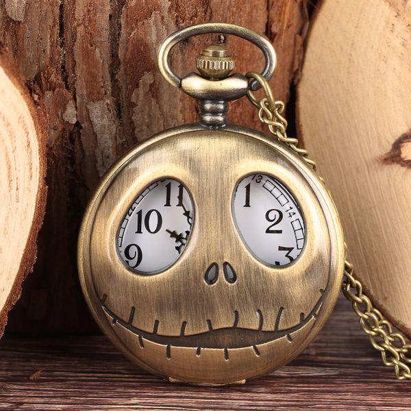 Tim Burton The Nightmare Before Christmas Quartz Pocket Watch Retro Frog Big Eyes Jack Skellington Necklace Pendant
