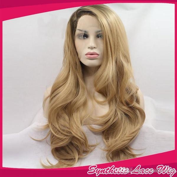 Moda onda larga rubia Ombre peluca pelucas delanteras del cordón sintético resistente al calor negro / rubio dos tonos de pelo 1BT27 # para mujeres