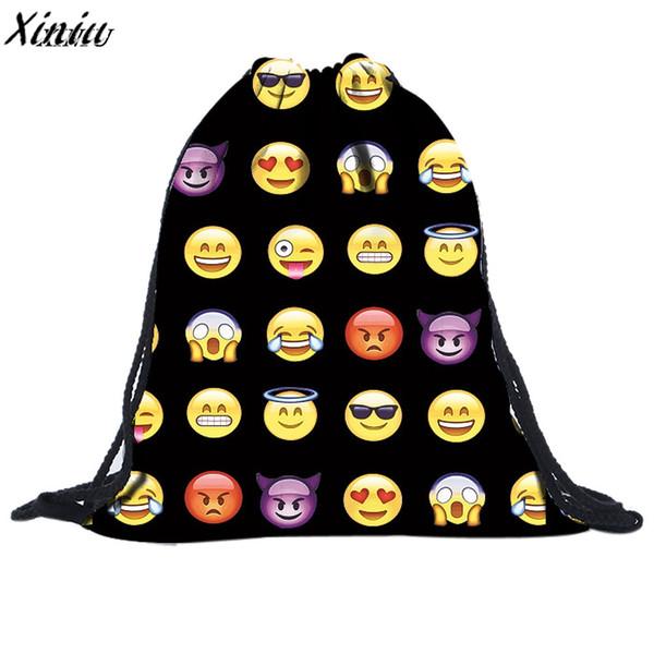 Heißen Verkaufs-Frauen-Rucksack-Spielraum Softback beiläufige Unisex Emoji Art und Weise 3D-Druck-Taschen-Rucksack-Schule-Zubehör Geschenk