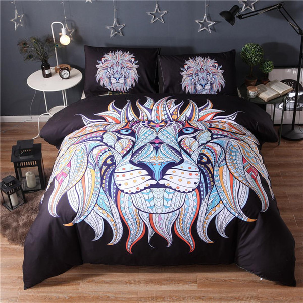 Bedding Set Painting 3D Black Lion king Bohemia King Duvet Cover with Pillow Case 2/3PCS Indian style30