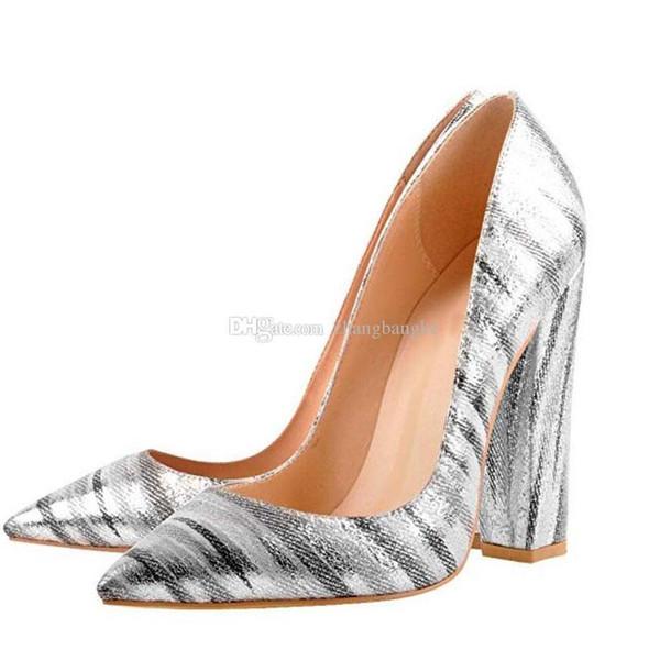 Sexy2019 Kadın S Sivri Burun Blok Tıknaz Klasik 12 cm Yüksek Topuklu Ayakkabı Üzerinde Kayma Düğün Ofis Parti Pompaları