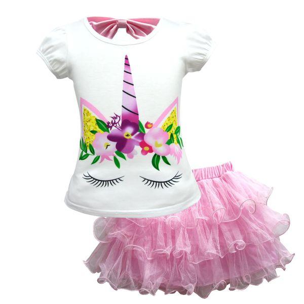 2019 nuove ragazze del vestito a maniche corte gonna a due pezzi unicorn vestito di pannello esterno della maglia delle neonate dei bambini gonne Mesh Unicorn T-shirt + Tutu pizzo