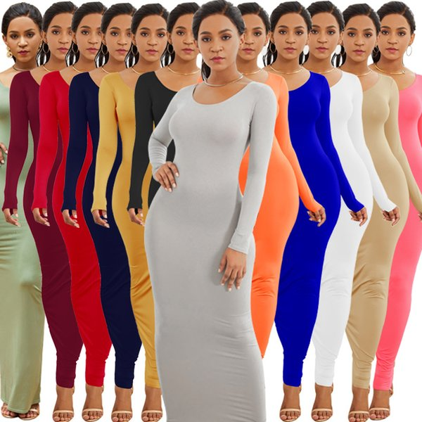 Women Maxi Dress Stretchy Slim solid Casual Tight Bodycon Summer Long sleeves Dresses Lady Evening Party Home Clothing AAA1847