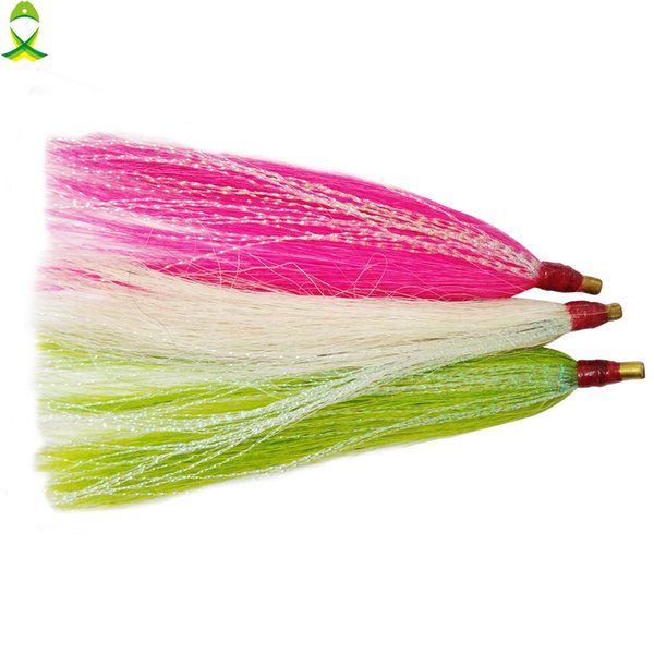 Lures JSM 6 pcs/lot Sea Bucktail Teaser for Lures jigging rigs accessories