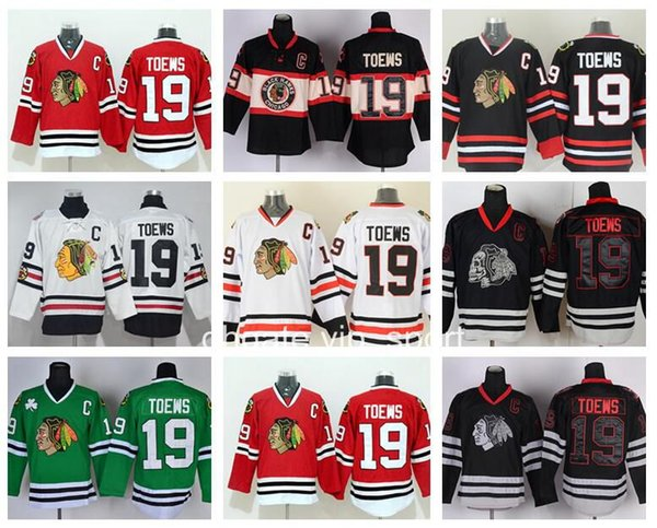 Eishockey 19 Jonathan Toews Blackhawks Trikots Chicago Winter Classic Throwback Jonathan Toews Trikot Black Ice Skull Rot Weiß Grün