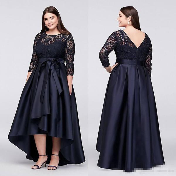 queenshoebox / 2019 Azul Marinho Plus Size Alta Baixa Vestidos Formais com Meia Mangas Sheer Jewel Neck Lace Vestidos de Noite A-Line Barato Curto Prom Vestido