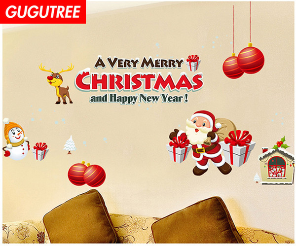 Decorate Home merry christmas new year art wall sticker decoration Decals mural painting Removable Decor Wallpaper G-1277