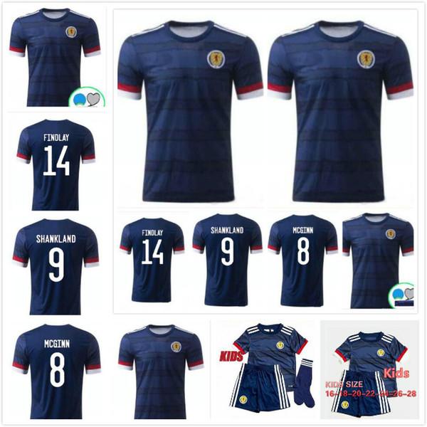 Шотландия 20 21 Шотландия дети трикотажные изделия футбола 2020 Шотландия дома рубашку Макгин 8 Шенкленд 9 FINDLAY 14 детей комплект футбол рубашка