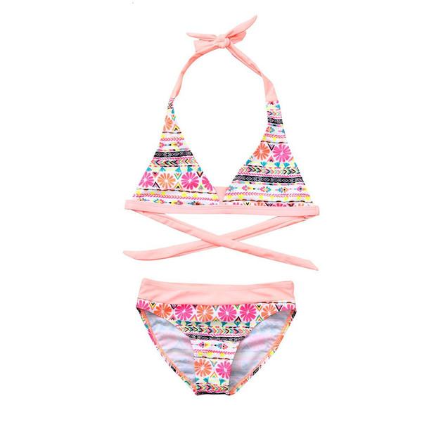 Çocuk ve Kız Bikini Plaj Baskılı Mayo + Şort Mayo Takım Asılı Kemer Yaz Mayo Kızlar Yeni Stil