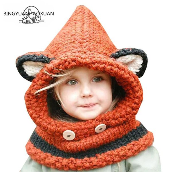 BINGYUANHAOXUAN2017 Winter Outdoor Hats Knitting Wool Cat Soft warm Hats for Baby Girls Shawl Beanie Caps Set and Scarf set