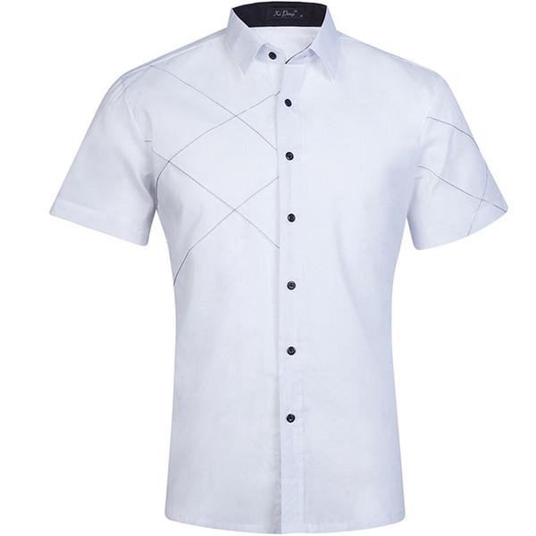 Summer White Dress Shirt Men Slim Fit Short Sleeve Casual Button Down Shirts Mens Business Office Work GD21