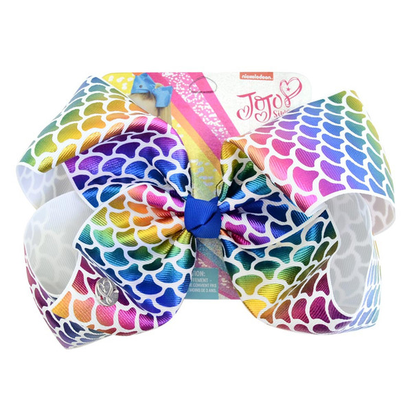 JOJO SIWA baby girl Children 8 inch LARGE Rainbow Signature HAIR BOW with card and sequin logo Hair Accessories fashion 11colors hair clip