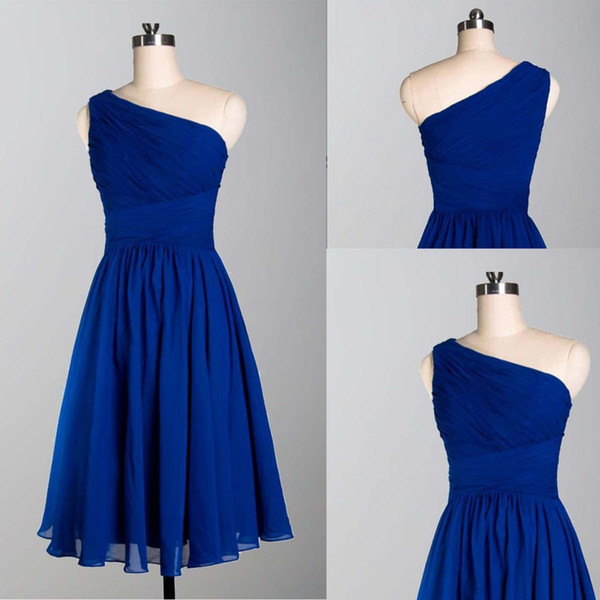 Real Photo Royal Blue Short Cheap Bridesmaid Dress One shoulder Chiffon Empire Ruched Backless New Wedding Guest Party Evening Formal Dress