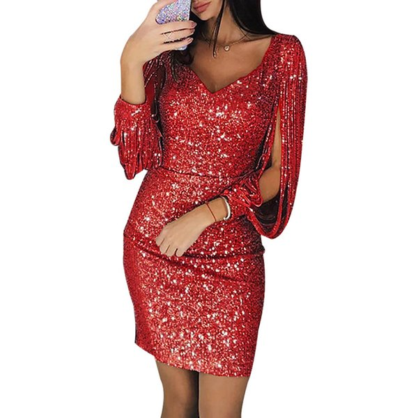 Sequin Sexy Dress Women Fashion Vestidos Elegant Mini Dress Clothes Party Dresses Casual V-Neck Size S-3XL