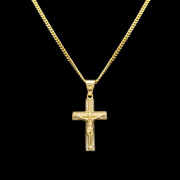 Aço inoxidável cor de Ouro jesus cruz pingente de colar hip hop 60 cm longo cubano elo da cadeia colares para homens ou mulheres jóias