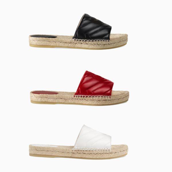 Kadınlar Tasarımcı Deri Espadrille Sandalet Lüks Terlik Düz Platformu Ayakkabı Ile Çift Metal Plaj Örgü Ayakkabı 4 Renk Boyutu 4-10