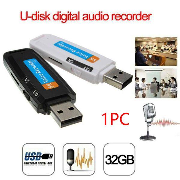 Flash Drive TF de soutien carte audio mini portable rechargeable Enregistreur vocal WAV USB numérique en plastique U disque Pen Professional