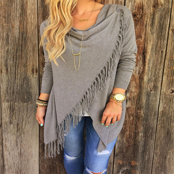 Womens Capes And Ponchoes Autumn Winter Women Fashion Candy Colors Tassel Pullovers Plus Size Women Knitted Sweater