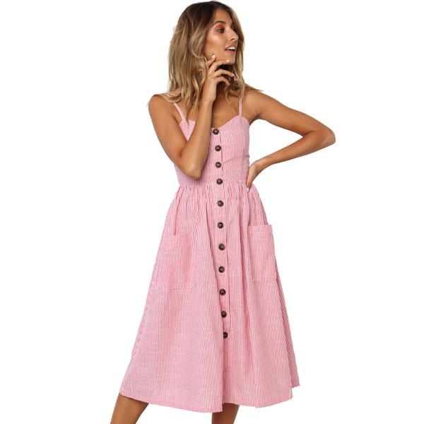Düğme Çizgili Baskı Pamuk Keten Rahat Yaz Elbise 2019 Seksi Spagetti Kayışı V Yaka Kapalı Omuz Kadınlar Midi Elbise Vestidos