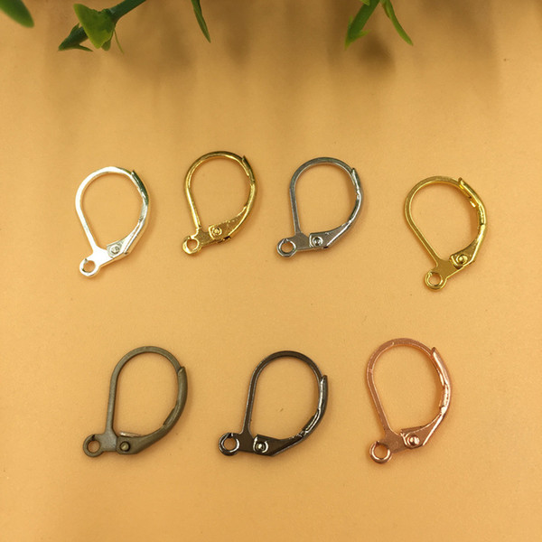 200pcs 10*15mm Anti-allergic pure copper French ear hook silver earring hook clasps for jewelry making, rose gold earing findings component