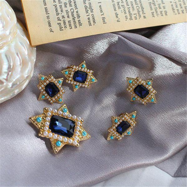 Neue retro stil eingelegten Tinte blau glas nachahmung perlenbrosche halskette 925 silber nadel ohrringe ohrclip passt frauen
