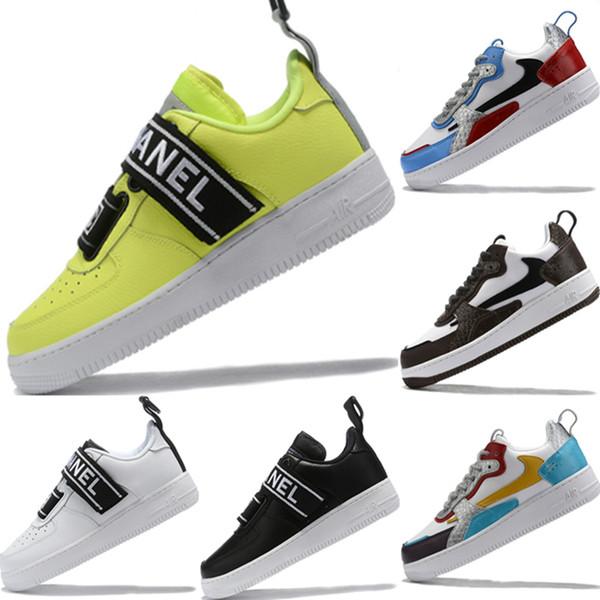 2019 Forçado Low Cut One 1 couro genuíno emenda Basketball Sneaker Original forçado Low Cut One 1 tampão de borracha Sports Shoes