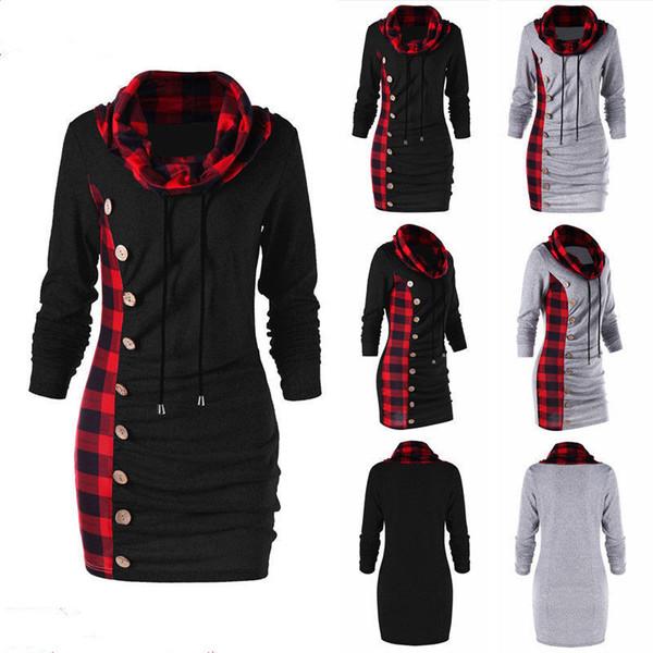 Sweet cou chemise tunique de Womne Womens occasionnels bouton sweat robe automne manches longues gaine moulante robe femme capuche plus la taille S-5xl