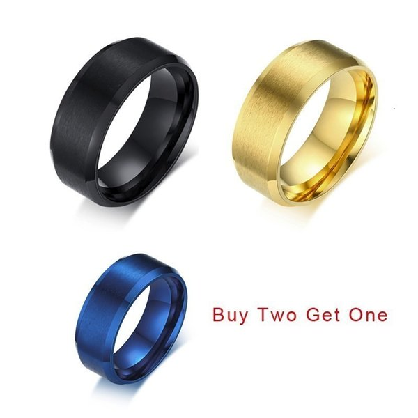Buy Two Get One Men Basic 8MM Wedding Band Stainless Steel IP Brushed Center Beveled Edge Ring Anel Aneis Anillos Accessories
