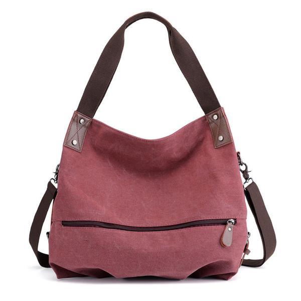 Solid Color Canvas Ladies Trend Large-capacity Handbag Sweet Exquisite Teenage Girl Personality Short-distance Travel Handbag