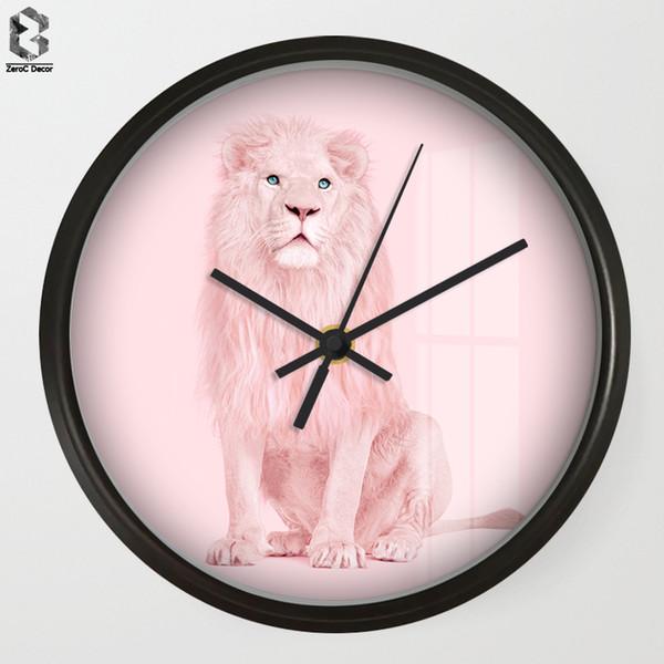 Chic Art Wall Clock Cartoon Sweet Lion For Kids Room Wall Decor, Nursery Decorative Mute Quartz Clocks Saat Home Decoration