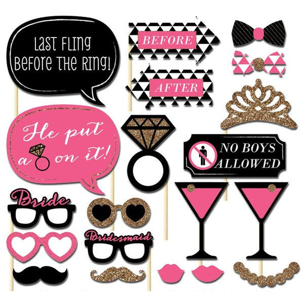 Fashion 20PCS/Lot Hot New Crown Wine Glass Cute Mustache Beard Photobooth Props Party Accessories Photograph Tools