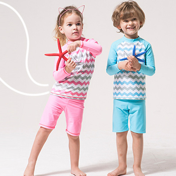 Two Pieces Suits Swimming Suit Boys Swimsuit Girl Long Sleeves Bathing Suits For Children Beach Wear Little Kids Swim Suit Y19072701